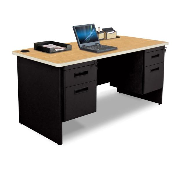 60 in. W x 30 in. D Oak Laminate and Black