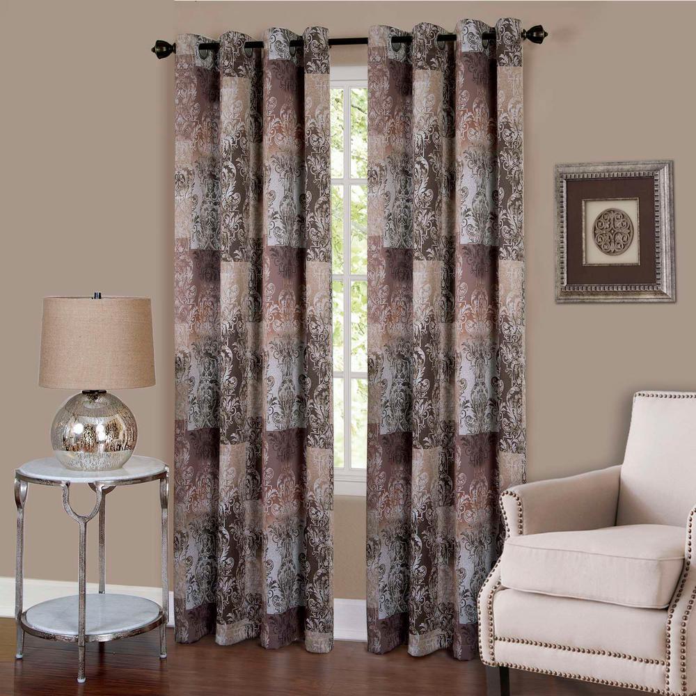 Vogue Brown Grommet Window Curtain Panel - 50 in. W x 84 in. L
