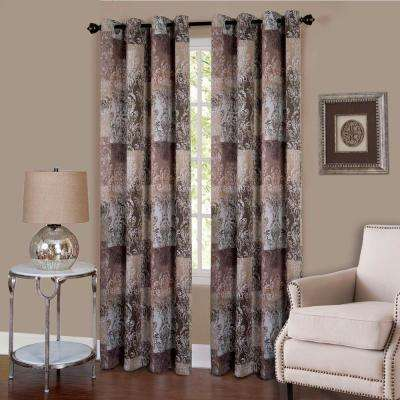 Vogue Brown Grommet Window Curtain Panel - 50 in. W x 63 in. L