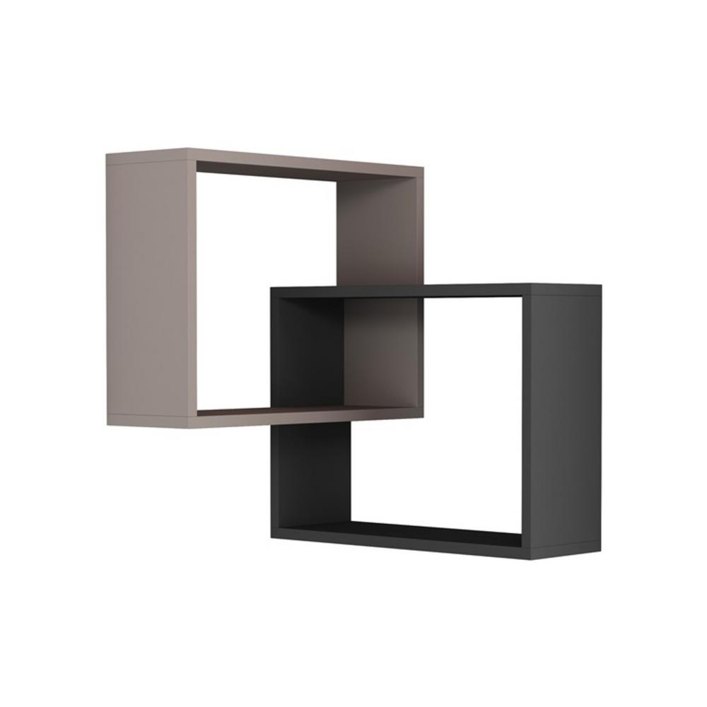 Warner Light Mocha & Anthracite Mid-Century Modern Wall Shelf