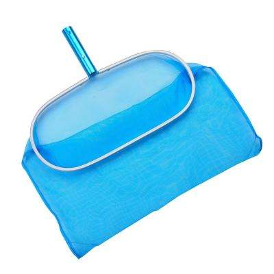 Aluminum Deep Pool Bag Rake with Chemical-Resistant Mesh Net and No-Mar Finish for Cleaning Swimming Pools and Fountains