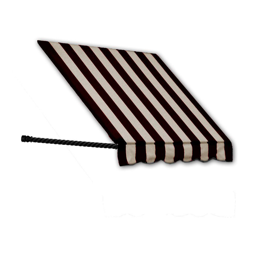 AWNTECH 5 ft. Santa Fe Twisted Rope Arm Window Awning (44 in. H x 24 in. D) in Black/Tan Stripe