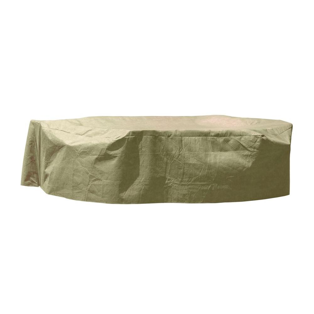 DryTech Large Rectangular Khaki Patio Table with Chair Cover