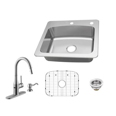 All-in-One Dual Mount 18-Gauge Stainless Steel 25 in. 2-Hole Single Bowl Kitchen Sink with Pull Down Kitchen Faucet