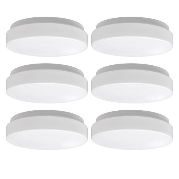 Low Profile 7 in. White Round 4000K Bright White LED Flush Mount Ceiling Light 810 Lumens Modern Smooth Cover (6-Pack)
