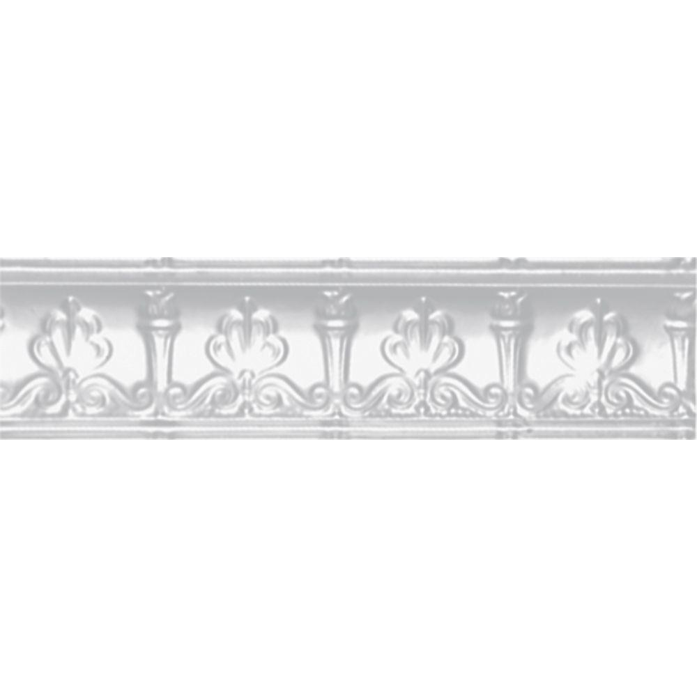 Shanko 4 in. x 4 ft. x 4 in. Powder-Coated White Nail-up/Direct Application Tin Ceiling Cornice (6-Pack)