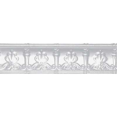 4 in. x 4 ft. x 4 in. Powder-Coated White Nail-up/Direct Application Tin Ceiling Cornice (6-Pack)
