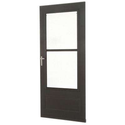 36 in. x 80 in. 300 Series Bronze Universal Triple-Track Aluminum Storm Door with Nickel Hardware