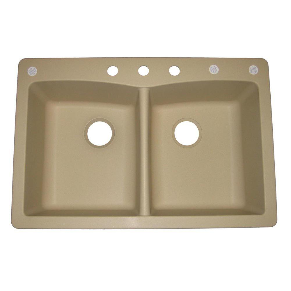 Pegasus Dual Drop-in Undermount Granite Composite 33 in. 3 Hole Double