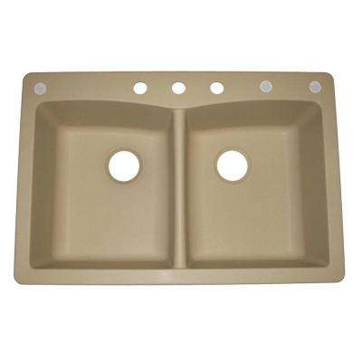 Pegasus Dual Drop-in Undermount Granite Composite 33 in. 3 Hole Double Bowl Kitchen Sink in Bisque