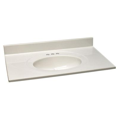 49 in. Cultured Marble Vanity Top in White on White with Basin