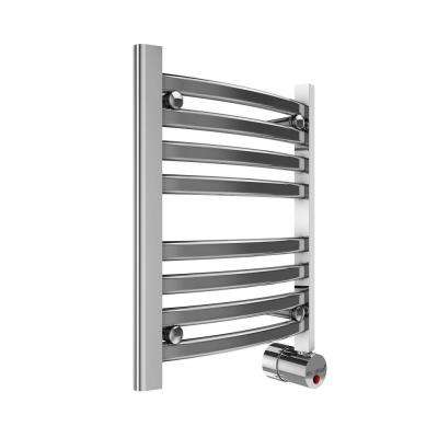 8-Bar Wall Mounted Electric Towel Warmer with Digital Timer in Polished Chrome