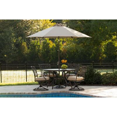 Monaco 5-Piece Aluminum Outdoor Dining Set with Tan Cushions, with 4 Dining Chairs, a Tile-Top Table, and Umbrella