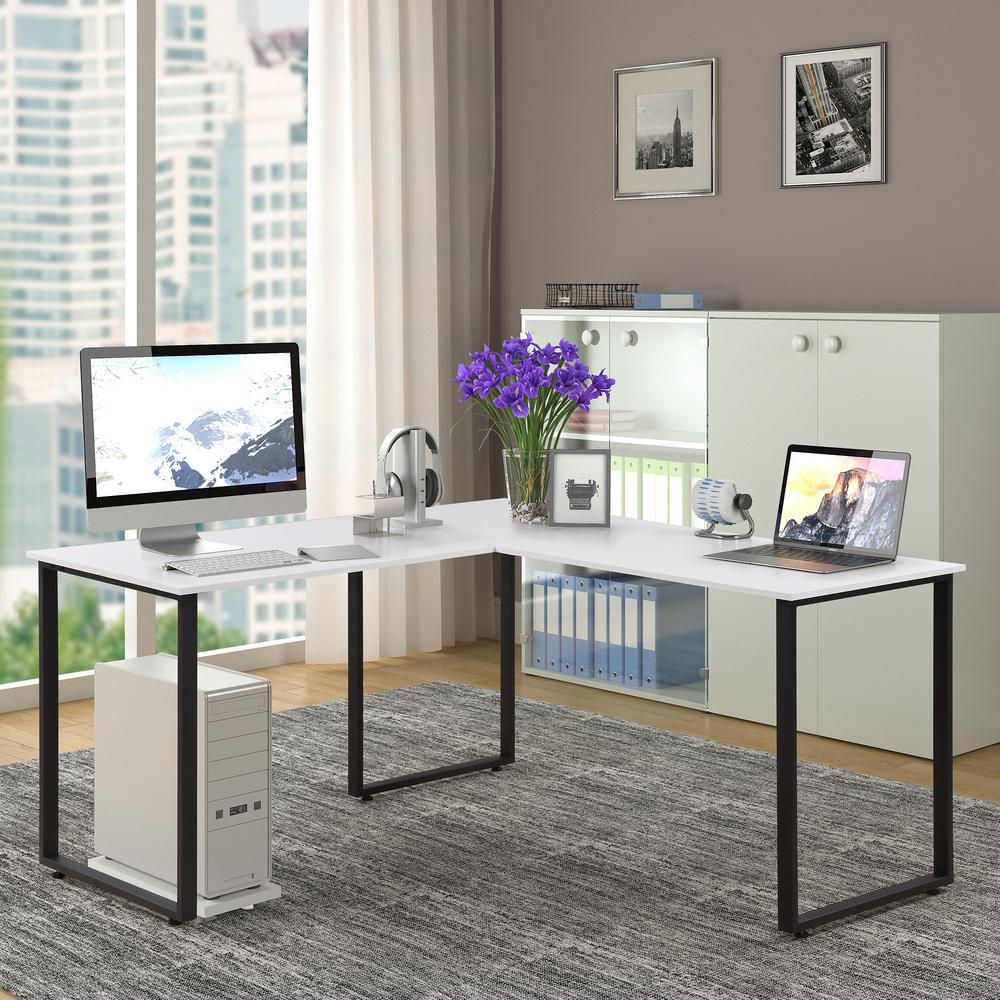 White L-Shaped Workstation Laptop Table Corner Desk