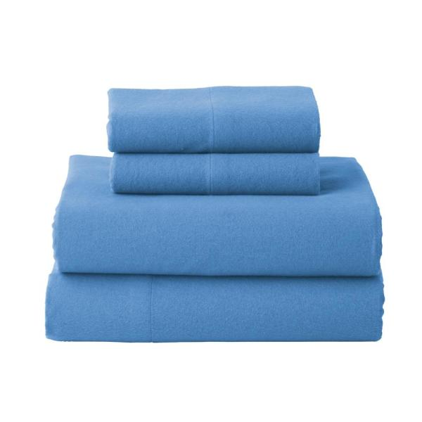 The Company Store Solid Flannel 3-Piece Delphinium Twin XL Sheet Set