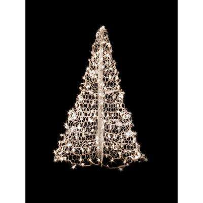 Indoor outdoor pre lit incandescent artificial christmas tree with white frame