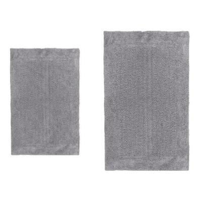 17 in. x 24 in. and Silver 21 in. x 34 in. Bella Napoli Reversible Bath Rug Set (2-Piece)