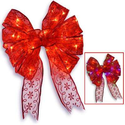 9 in. Red Bow Tree Topper with Dual Color LED Lights