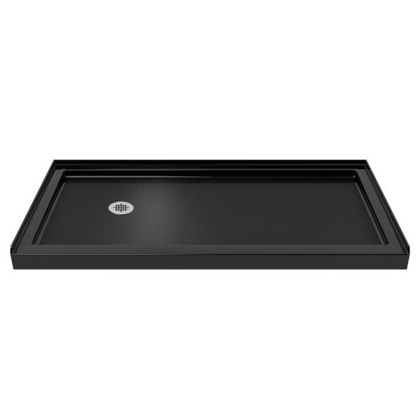 SlimLine 30 in. D x 60 in. W Single Threshold Shower Base in Black with Left Hand Drain