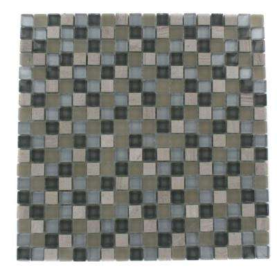 Naiad Blend Squares Pattern 12 in. x 12 in. x 8 mm Marble and Glass Mosaic Floor and Wall Tile