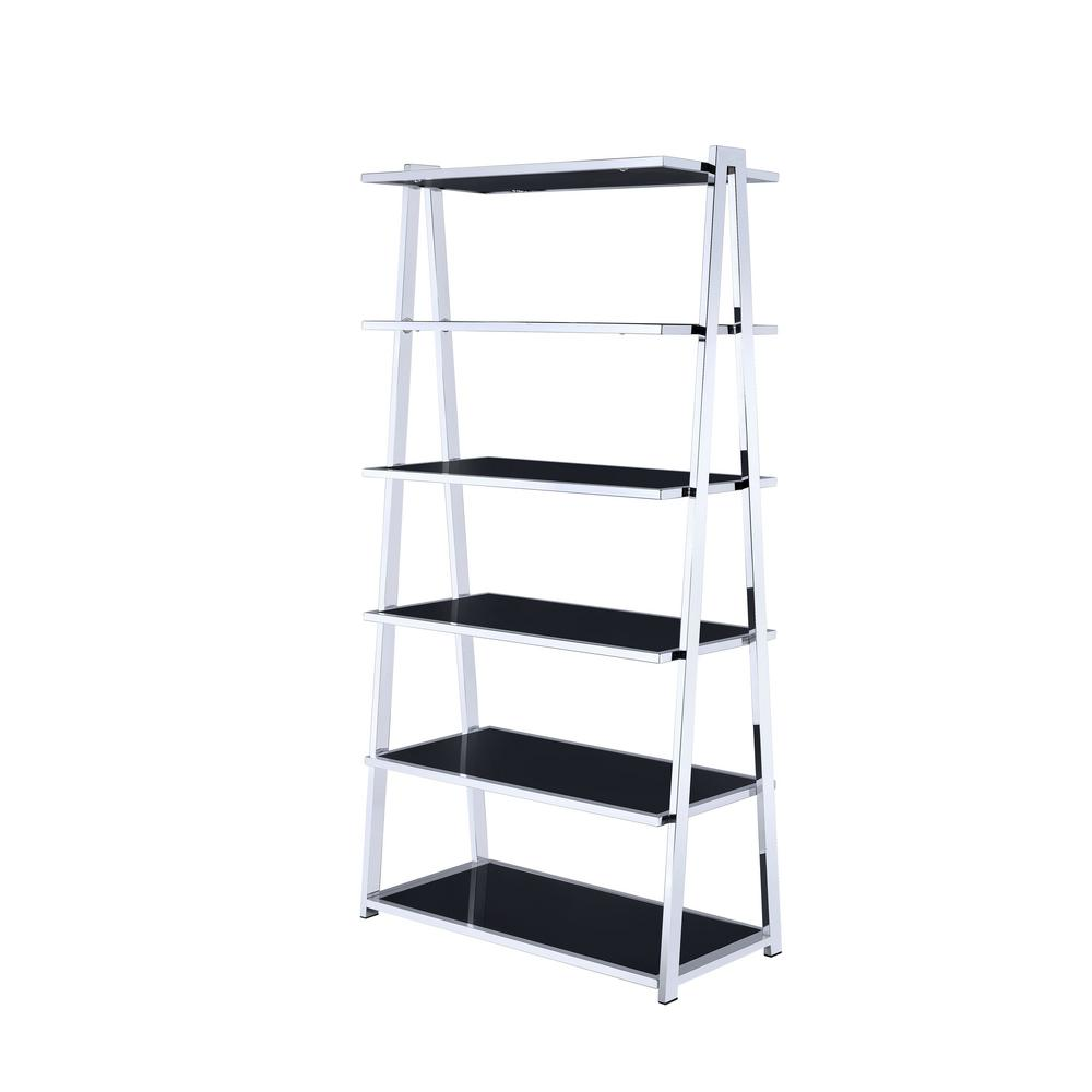 ACME Furniture Coleen Black High Gloss And Chrome Leaning Bookcase