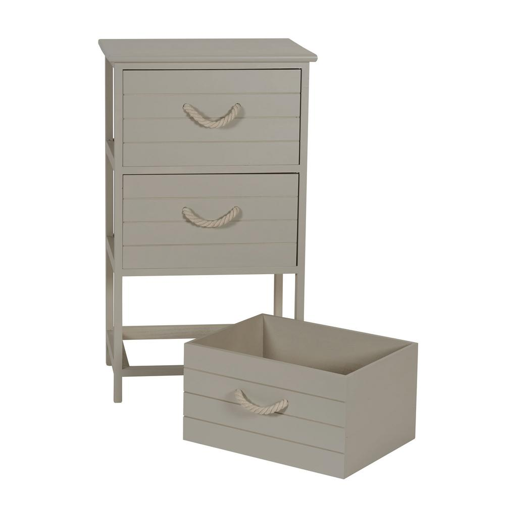 Household Essentials Seaside 17.75 In X 13.75 In. Taupe 3 Drawer Wide Side  Table