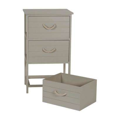Seaside 17.75 in x 13.75 in. Taupe 3-Drawer Wide Side Table in Whitewash