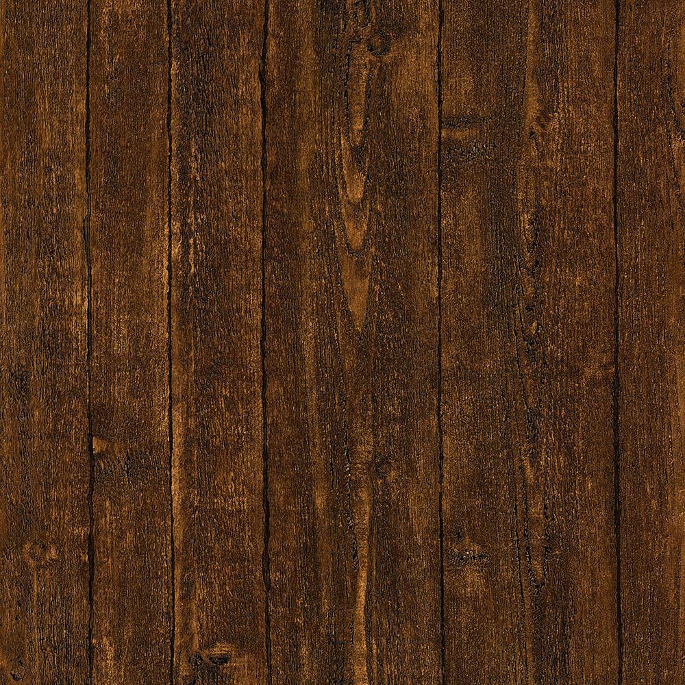 Brewster Ardennes Faux Dark Brown Wood Panel Wallpaper 412
