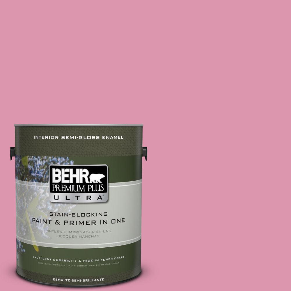 1-gal. #110B-4 Foxy Pink Semi-Gloss Enamel Interior Paint