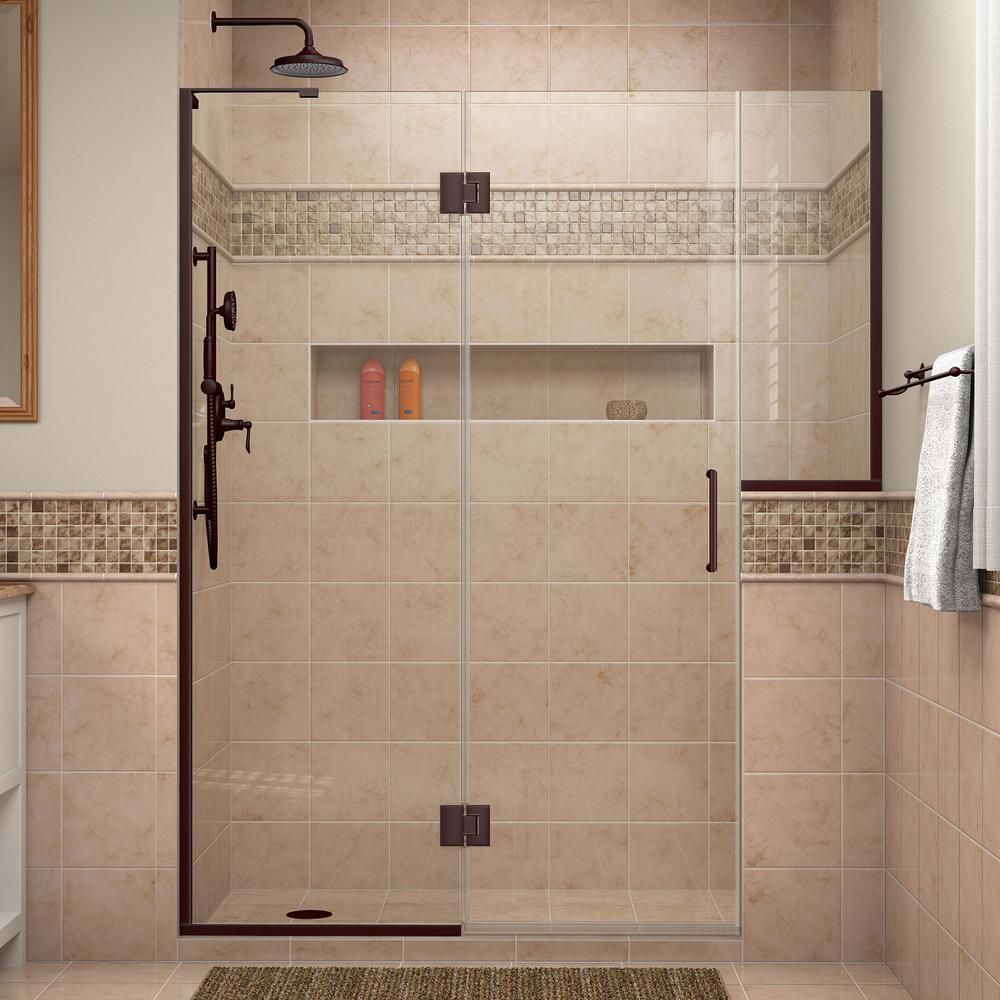 dreamline unidoorx 71 in to in x 72 in frameless pivot shower door in oil rubbed bronze with buttress the home depot