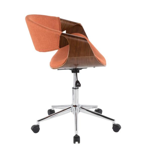 Lumisource Curvo Orange And Walnut Office Chair Ofc Curvo Wl O The Home Depot