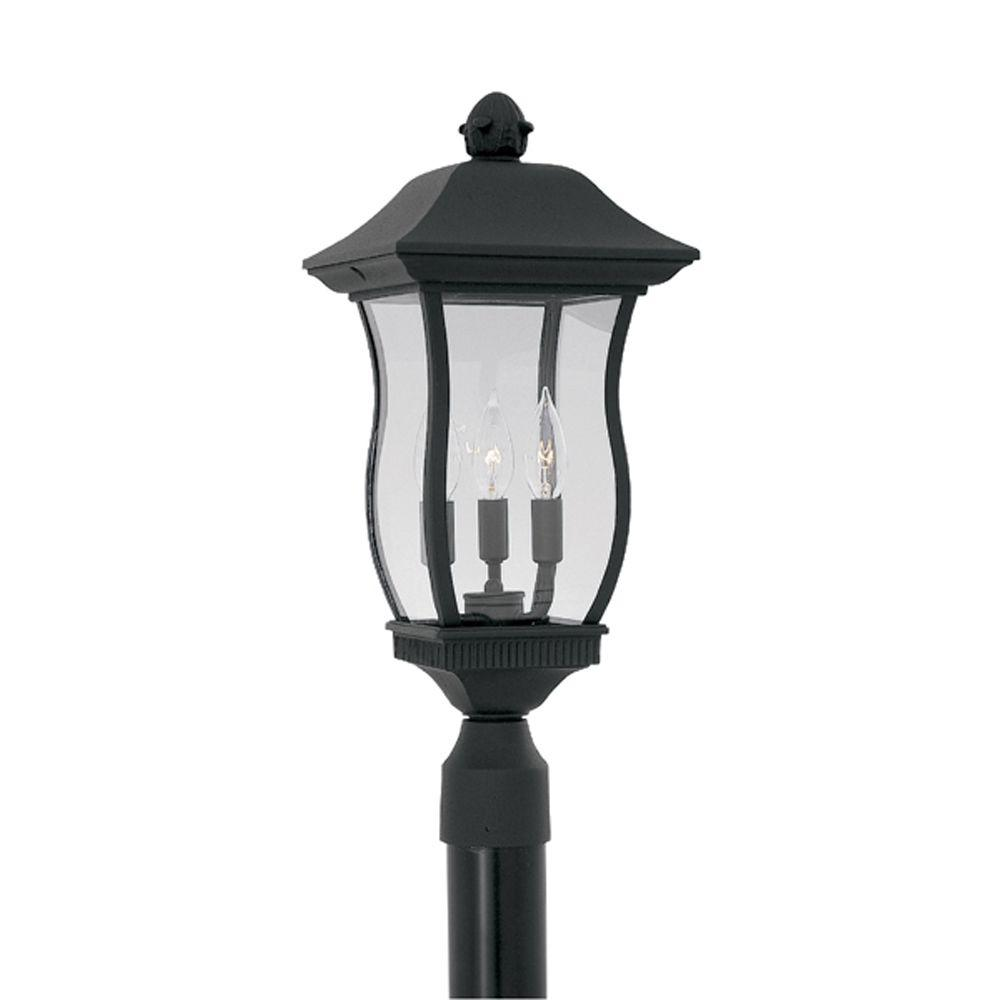 Cumberland Collection 3-Light Outdoor Black Post Lantern