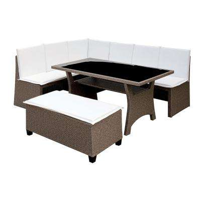 Superieur Fisher Gray 2 Piece Wicker Outdoor Dining Set With White Cushions