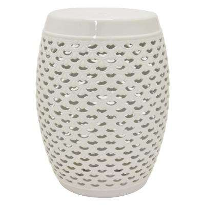 18 in. White Ceramic Garden Stool