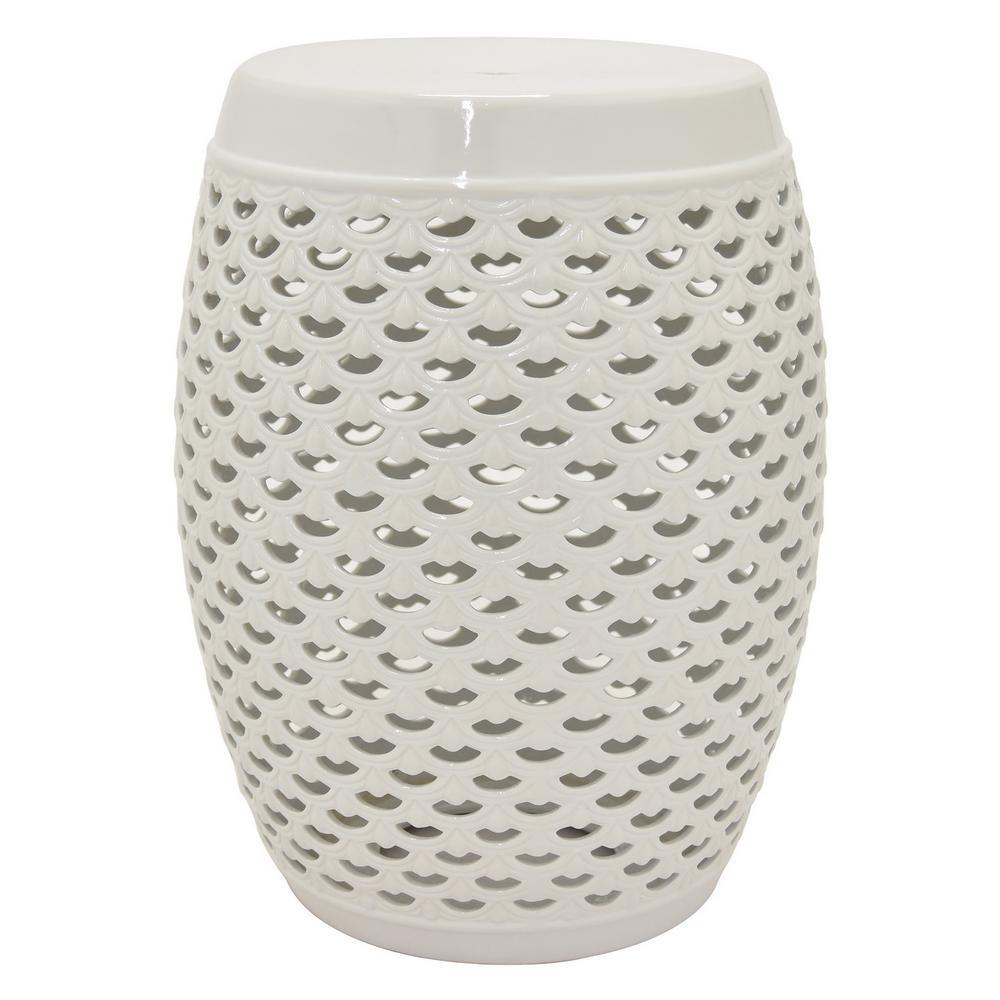 18 in. White Ceramic Garden Stool