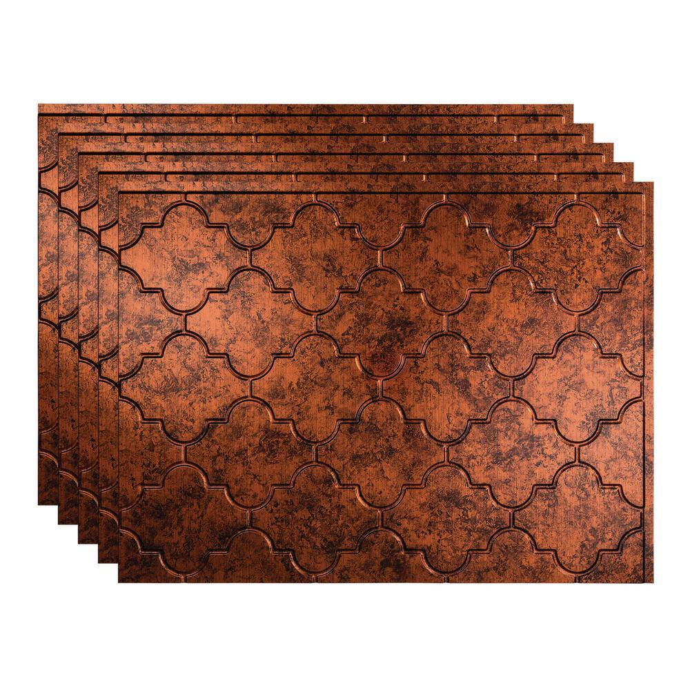 Monaco 18 in. x 24 in. Moonstone Copper Vinyl Decorative Wall Tile Backsplash 15 sq. ft. Kit