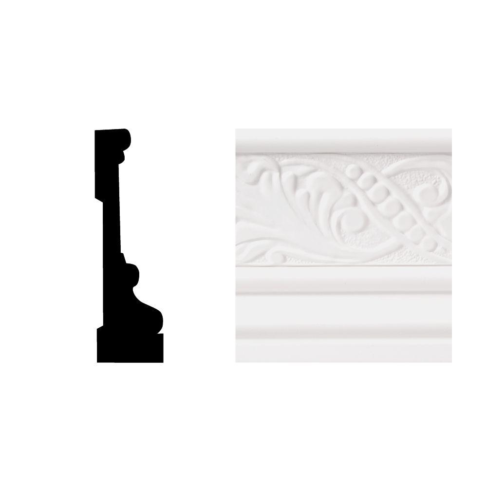 Royal Mouldings 6702 11/16 in. x 3-1/2 in. x 8 ft. PVC Composite White Casing Moulding