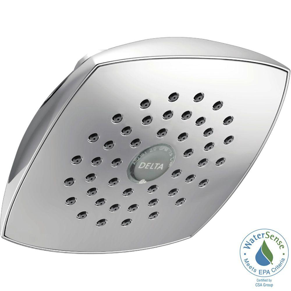 Delta 1-Spray 5-1/4 in. Fixed Shower Head with TouchClean in Chrome ...