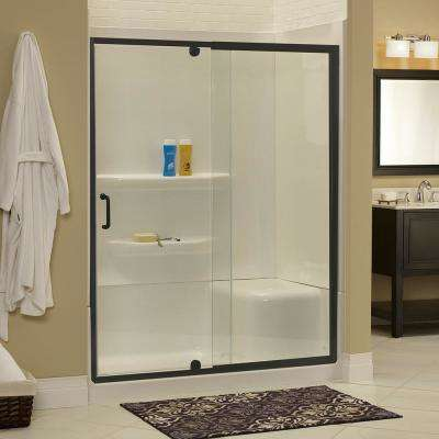 Cove 60 in. W x 69 in. H Frameless Pivot Shower Door and Fixed Panel in Oil Rubbed Bronze with 1/4 in. Clear Glass