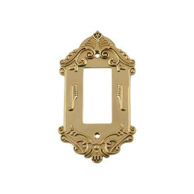 Victorian Switch Plate with Single Rocker in Polished Brass