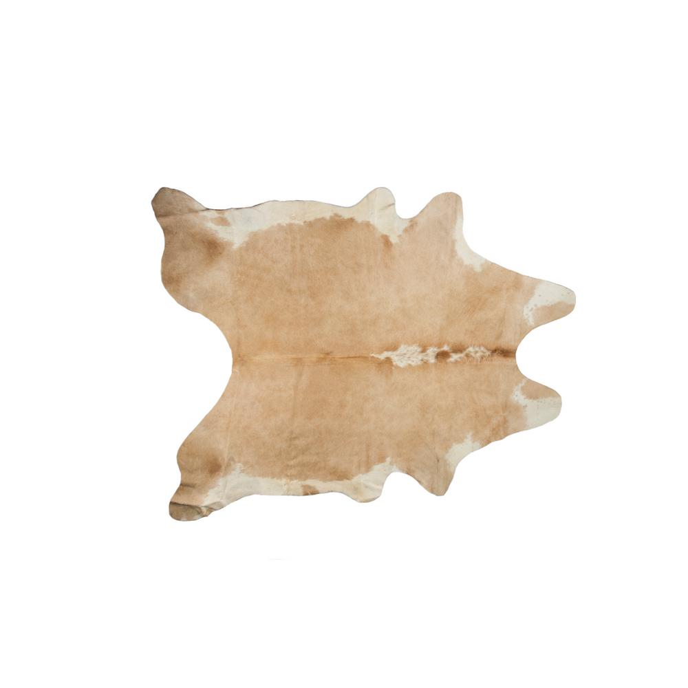 natural KOBE COWHIDE TAN/WHITE 5 ft. x 7 ft. AREA RUG