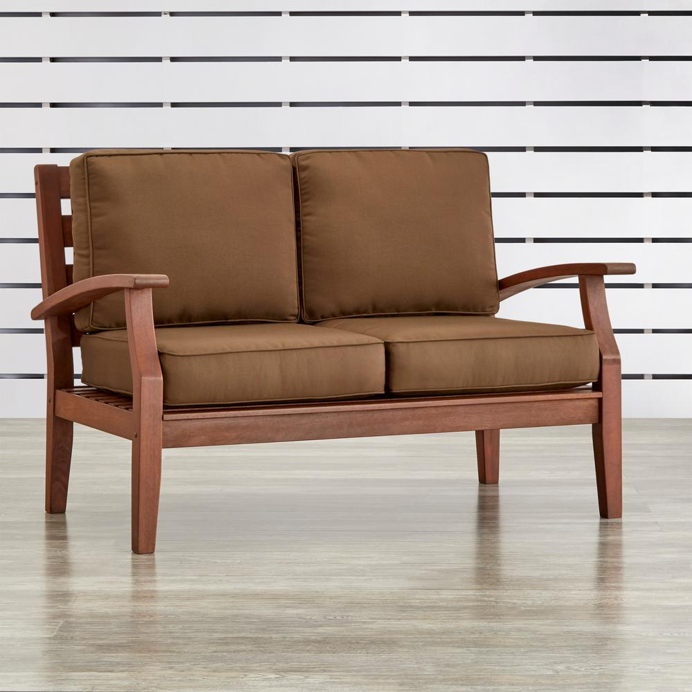 HomeSullivan Verdon Gorge Brown Oiled Wood Outdoor Loveseat with Brown Cushions