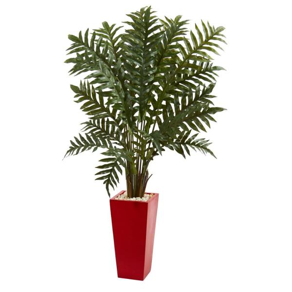 Nearly Natural Evergreen Artificial Plant in Red Tower Vase 6425