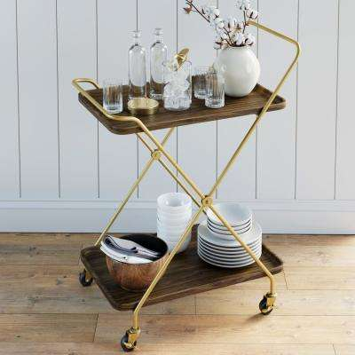 Hallie Retro 2-Tray Brown Mid-Century with Brass Metal Finish Rolling Bar or Serving Cart