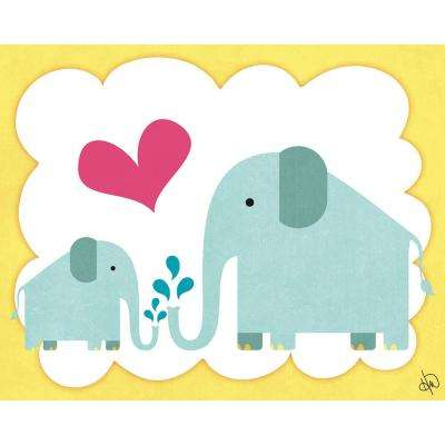 "20 in. x 24 in. ""Elephant Family"" Wrapped Canvas Wall Art Print"