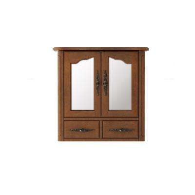 Provence 24 in. x 23 in. Framed Wall Mirror Cabinet in Chestnut