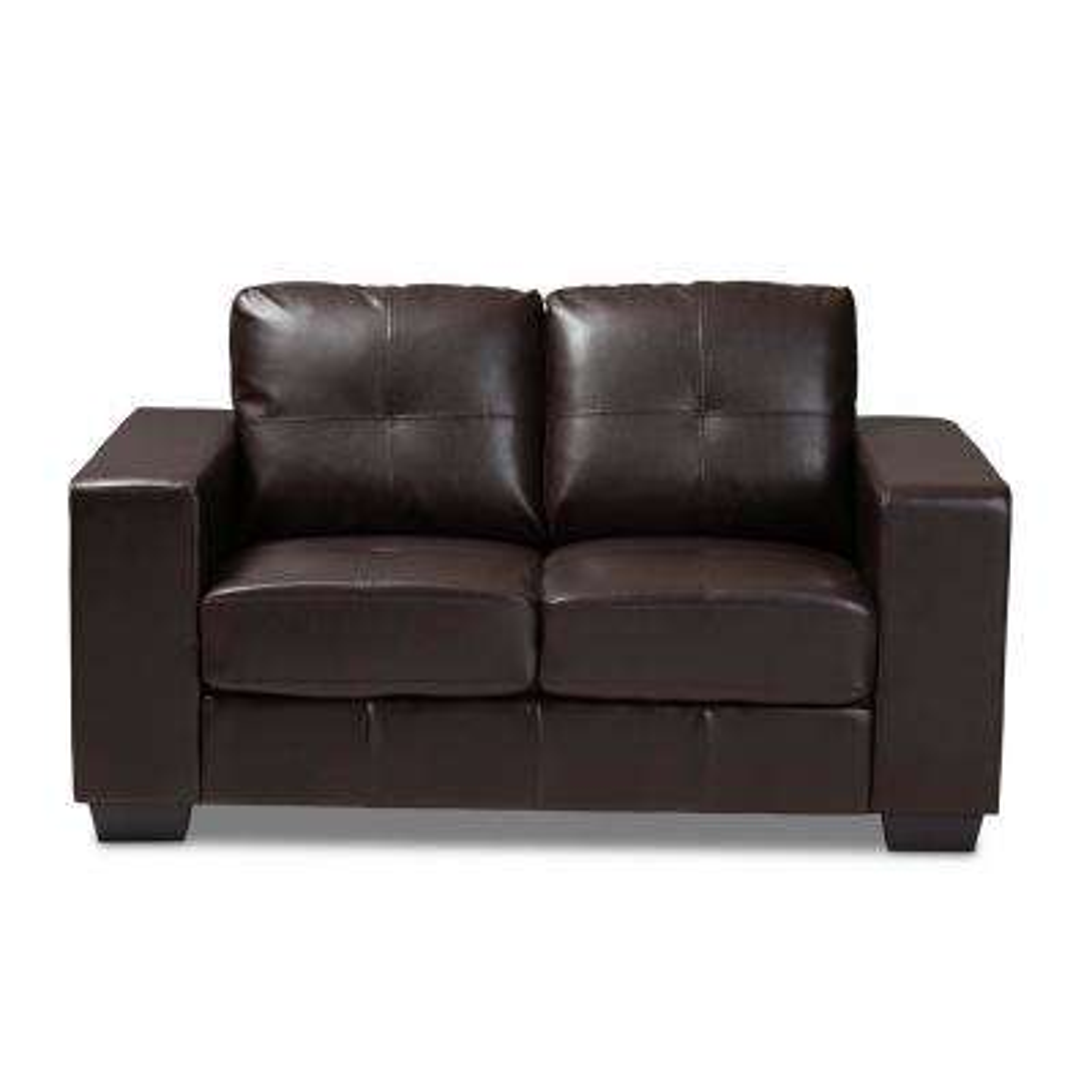 Awesome Fanette Dark Brown Faux Leather Loveseat Creativecarmelina Interior Chair Design Creativecarmelinacom