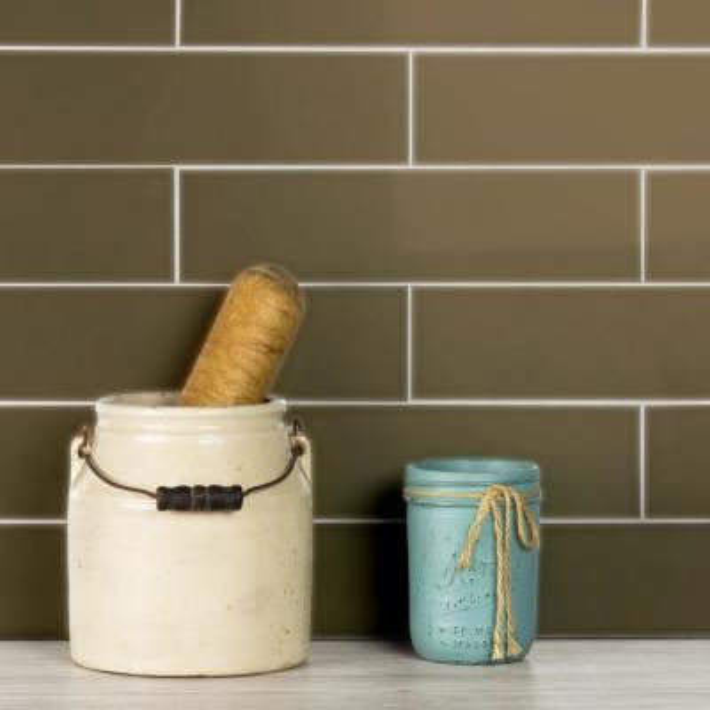 "Subway 3"" x 12"" Handmade Metallic Bronze Matte Glass Peel & Stick Decorative Bathroom Wall Tile Backsplash (4-Pack)"