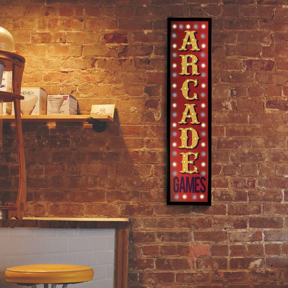 Arcade Games Framed LED Sign