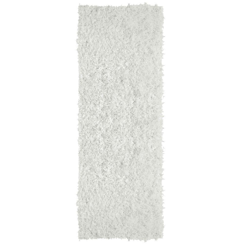 City Sheen White 3 ft. x 12 ft. Rug Runner